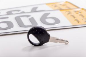 Kurzzeitkennzeichen und Autoschlüssel für das fahrzeug