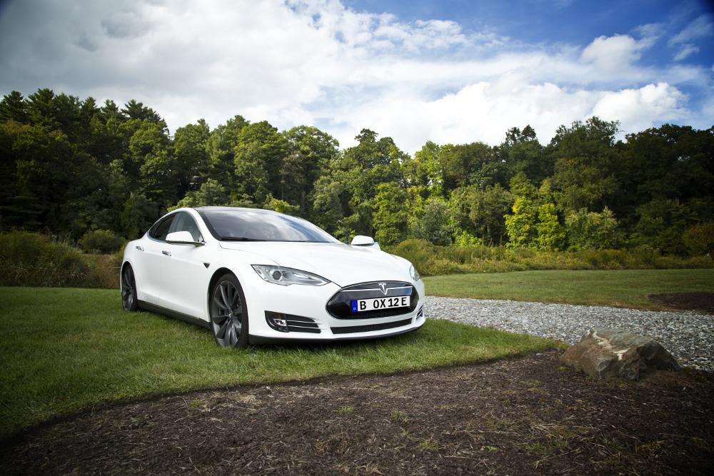 Ein finanzierter Tesla Model S im Grünen