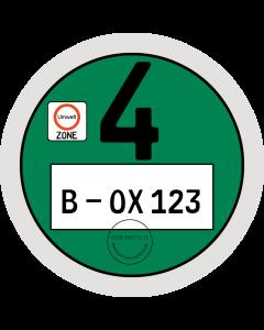 Umweltplakette in grün auf weißem Hintergund