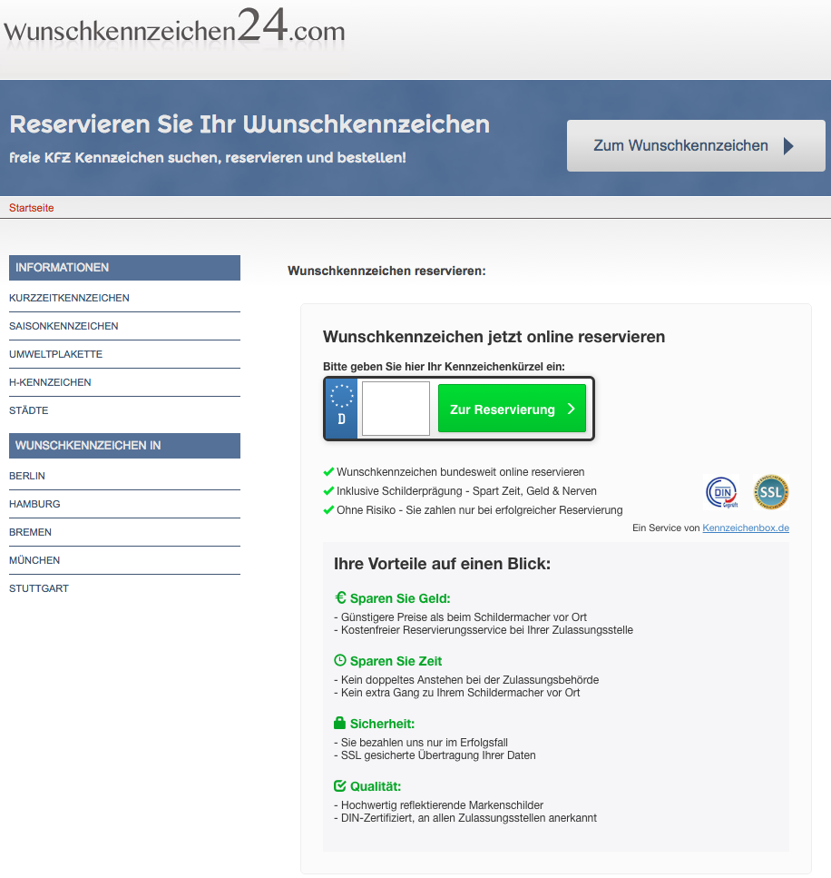 Beispiel Landingpage Wunschkennzeichen (mit Klickout) Desktop: wunschkennzeichen24.com