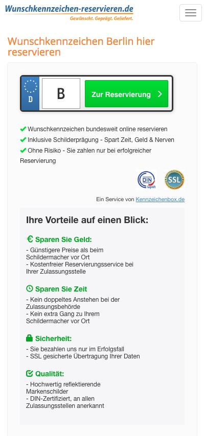 Beispiel Landingpage Wunschkennzeichen (mit Klickout) Mobile: wunschkennzeichen-reservieren.de