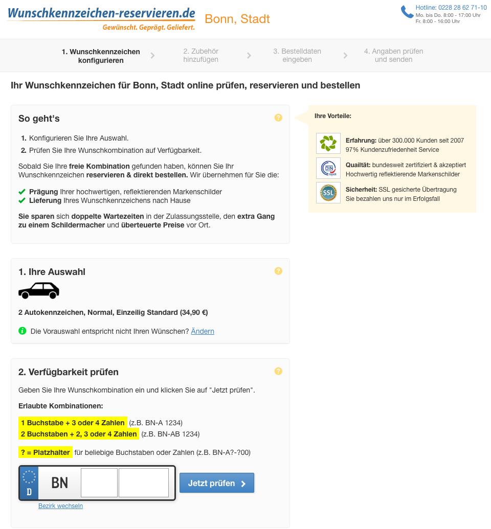 Beispiel Reservierungsstrecke Wunschkennzeichen (nach Klickout) Desktop: wunschkennzeichen-reservieren.de