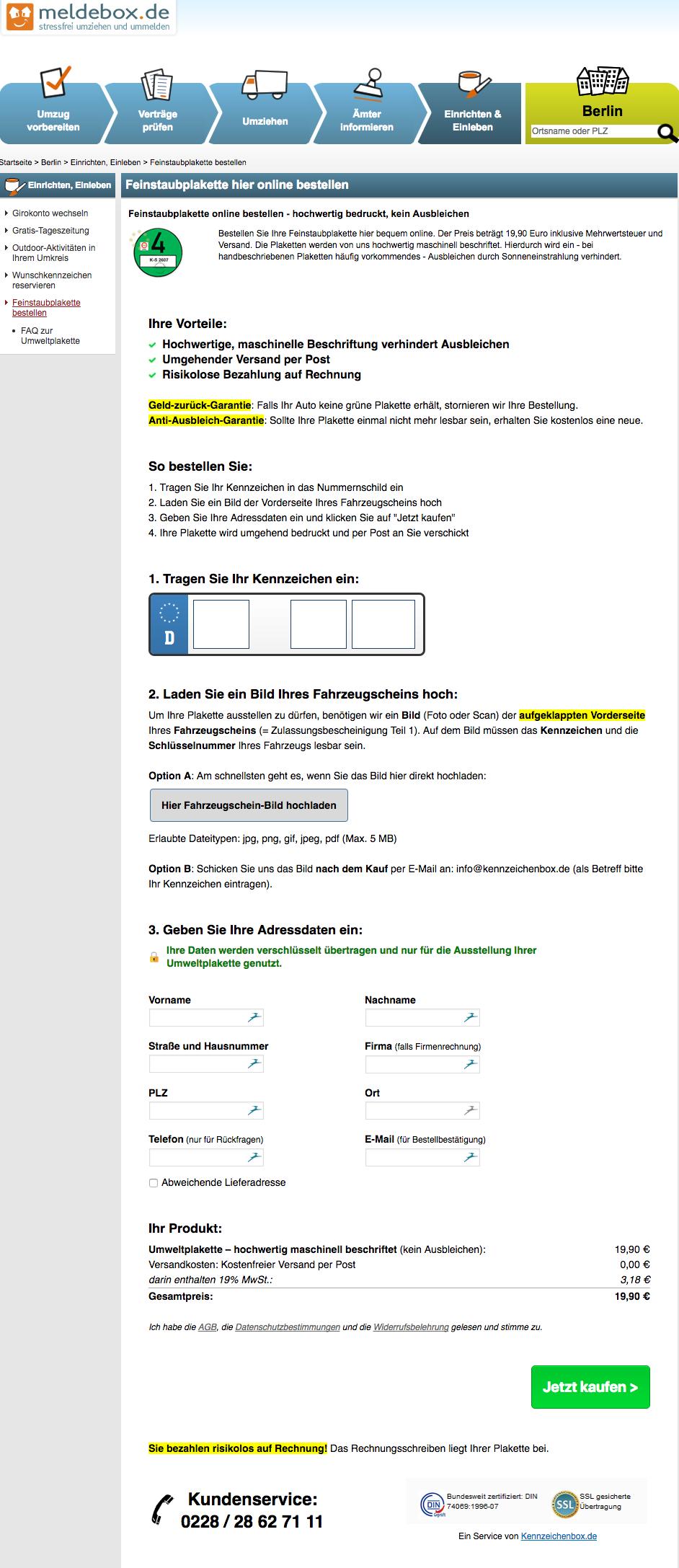 Beispiel WhiteLabel Umweltplakette Desktop: meldebox.de